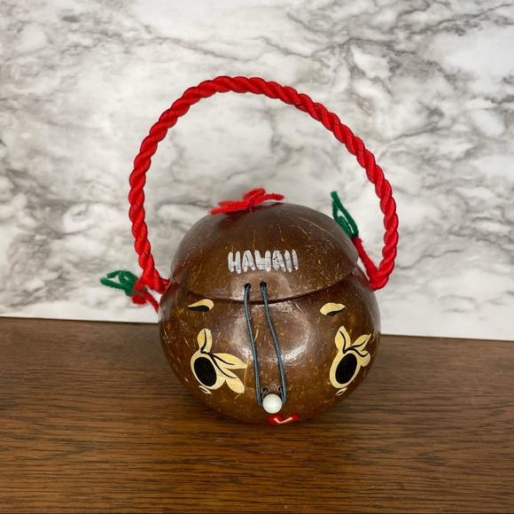 Vintage Handpainted Hawaii Coconut Trinket Box
